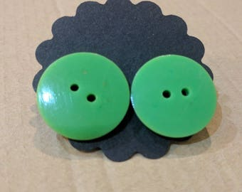 Green button earrings