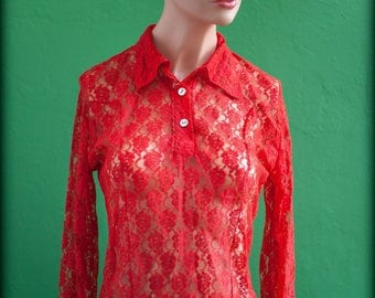 red collar lace blouse buttoned 2 buttons - dense red shirt - year 80