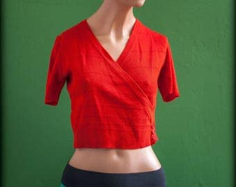 "Wrap sweater crossover short imperial T36 (en) XS brand ""malhas"" red - vintage"