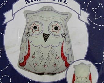 Owl Embroidery Applique Cushion Kit- Modern Embroidery Owl Pattern Pillow - Craft Kit