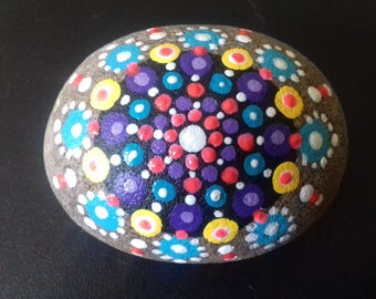 Multi colour Mandala Stone, hand painted pebble, painted rock from Cornwall,  paperweight, mindfulness or meditation aid, Cornish gift.