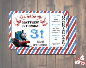 Thomas the Train Birthday Invitation Ticket 5x7