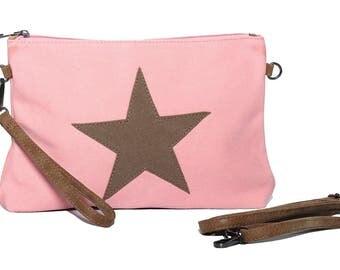 Star handbag, tote bag, stars bags, star shoulder bag, canvas handbag, pink star nude handbag, small canvas bag, shoulder strap
