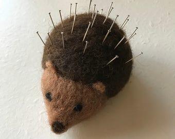 Needle felted hedgehog pin cushion