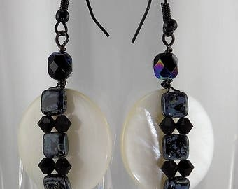 Large mother of Pearl,Czech glass beads, Swarovski crystal, large dangle.