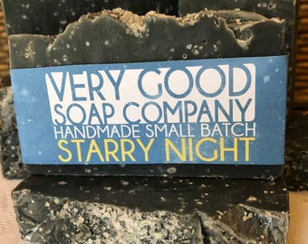 Starry Night Charcoal Sea Salt Soap // Cold Process Soap // Handmade Soap // Vegan Soap // Activated Charcoal Soap