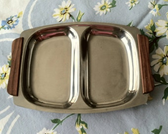 Stainless Steel  2-Part Mid Century Serving Dish