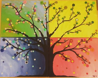 Four Seasons Button Tree on Canvas