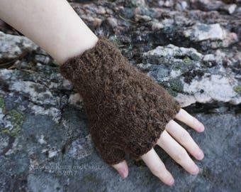 Brown Alpaca Fingerless Gloves
