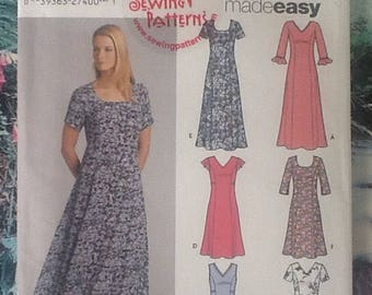 Simplicity 5189 sewing pattern, ladies dress with neckline and sleeve variations.
