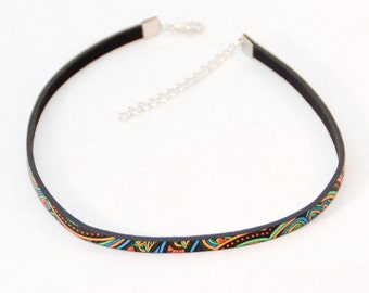 Choker Necklace Black PU-leather Paisley