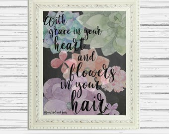 Mumford and Sons lyric print After the Storm watercolor floral//Printable art//Lyric print