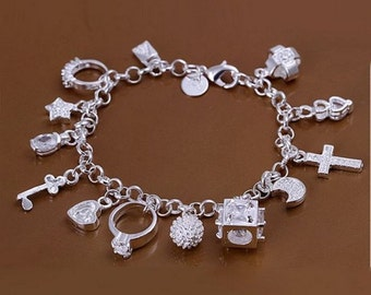 925 sterling silver jewelry charm bracelet with 13 followers