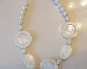 White Mother of Pearl Circle and Discs Necklace