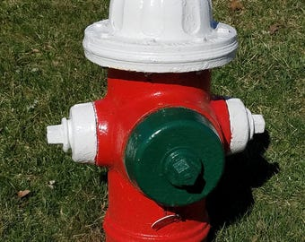 Fire Hydrant - red, white & green.