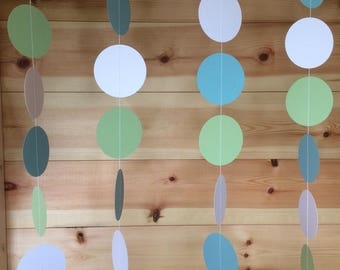Blue, Green and White, Circle Garland, Decor, Parties, Weddings, Celebrations, Baby Showers,