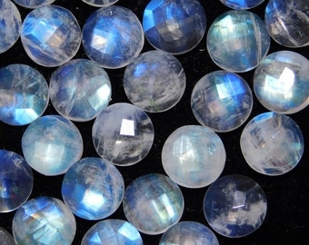 10 pieces 8x8 mm natural rainbow moonstone checker cut loose gemstone for jewelry