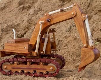Handmade wooden excavator