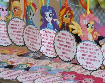 12 My Little Pony Birthday Thank You Favor Tags - Variety