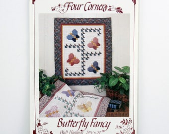 Quilting Pattern, Butterfly Fancy, Wall Hanging, Size 31-1/2 x 37 inch, Quick and Easy, Butterflies Wallhanging, By Four Corners  #9050