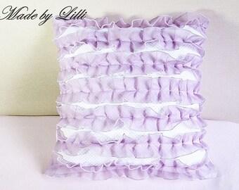 Cushion cover purple ruffles