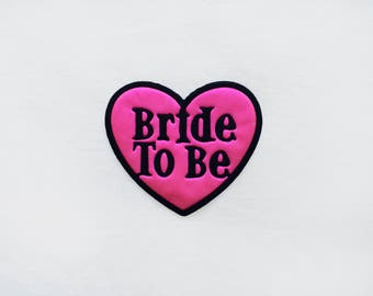 1x sparkling pink heart PATCH for BRIDE to BE bridal shower girly gift idea custom shirt scrapbooking Embroidered Applique