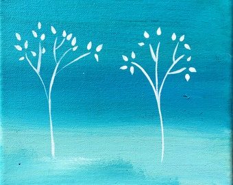 Original contemporary artwork acrylic '4 Trees'
