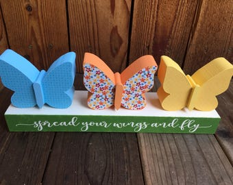 Summer/spring butterfly wood decoration