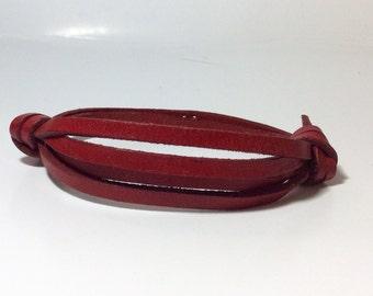Men's adjustable red leather bracelet