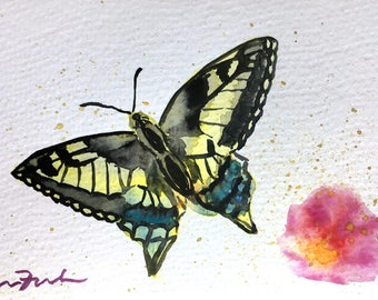 Butterfly Original Watercolor 4 x 6 Postcard Painting, Mini Painting, Yellow Butterfly, Pink Flower