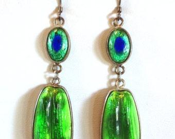 Green Two Piece Art Glass Earrings