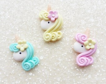 Unicorns with Flowers, Polymer clay, Flat backs, Embellishments, Charms, Handmade polymer clay charms,