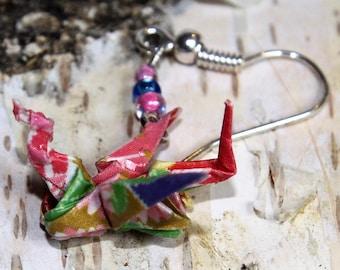 "Origami Drachen Ohrringe ""Tatsu "" rosa"