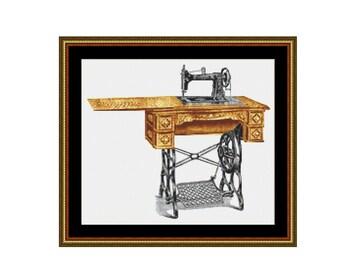 Vintage Sewing Machine cross stitch chart, Treadle sewing machine counted cross stitch, vintage treadle sewing machine, instant PDF download
