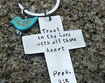 Religious gift, Christian, cross keychain, proverbs 3:5, trust in the Lord, with all thine heart, baptism gift, first communion, Handstamped