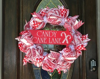 Christmas Deco Mesh Wreath, Candy Cane Wreath, Red and White, Decomesh, Holiday, December
