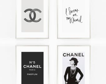 Print / Poster Set of 4, 'Chanel Bundle', Wall Art, Modern, No5, Wall Decor, Home Decor, Inspirational Print, Quote Print, Chanel