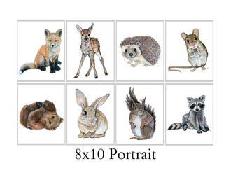 Set Of Eight 8X10 Forest Animal Nursery Fine Art Prints - Automatic FREE Shipping - SKU106