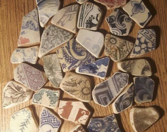Sea worn pottery collection surf tumbled sea glass pottery find genuine