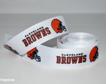 """Cleveland Browns 7/8"""" Grosgrain Ribbon 3A By the Yard"""