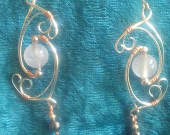 Jewelry, earrings, Hand made, wire wrapperd, rose quartz, and heearring, silver earrings great around the office or a night out, great gift