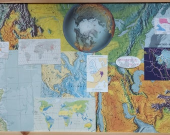 SALE Vintage Map Paper Pack Scraps Ephemera Grab Bag for Scrapbooking, Junk Journalling, Collage, Decoupage