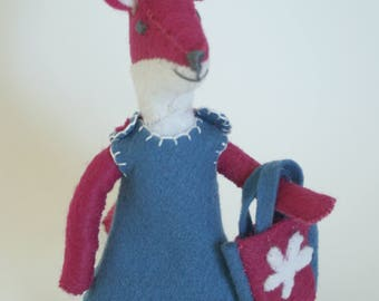 Felt Fox Toy, Felt Animal, Pink fox dressed in pink and blue
