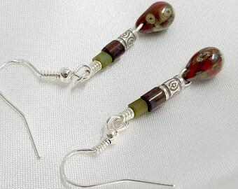 Czech Glass Earring, Medium Drop Earring, Tribal Silver Beads, Organic Earrings, Earthy Earrings, Burgundy Earrings, Tribal Jewelry