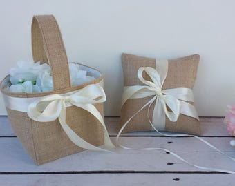 Set of 2, burlap flower girl basket and ring pillow