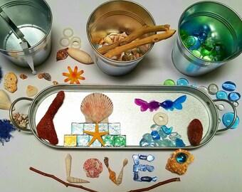 Ocean Theme Loose Parts, Transient Art, Open-ended Play, Reggio Emilia Inspired, Under the Sea Tray, Ocean Art Kit, Montessori