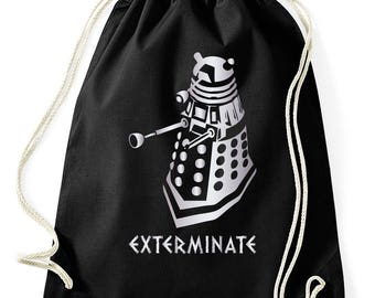 Dalek exterminate gym bags