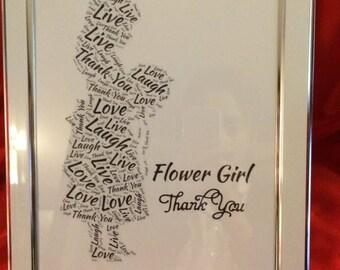 Flower girl word art framed