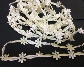 3 Yards Of Natural Rayon Embroidered Trim