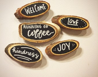 Hand-lettered Wooden Magnets